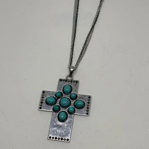 NWT Cross turquoise necklace